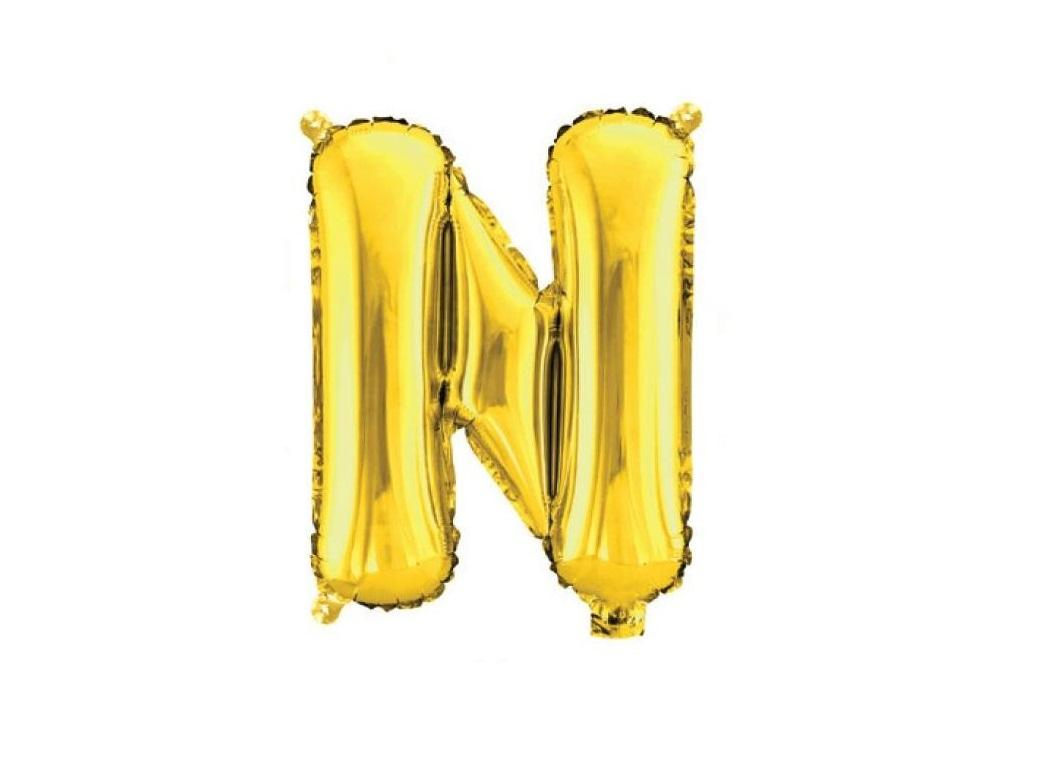 Mini Gold Foil Balloon - Letter N