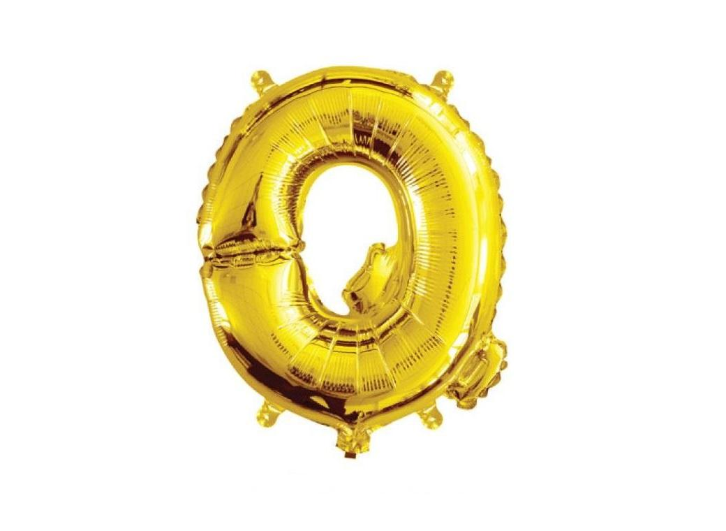 Mini Gold Foil Balloon - Letter Q