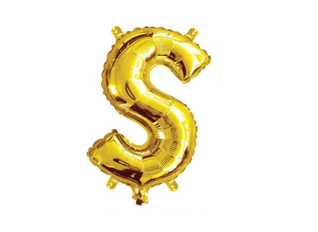 Mini Gold Foil Balloon - Letter S
