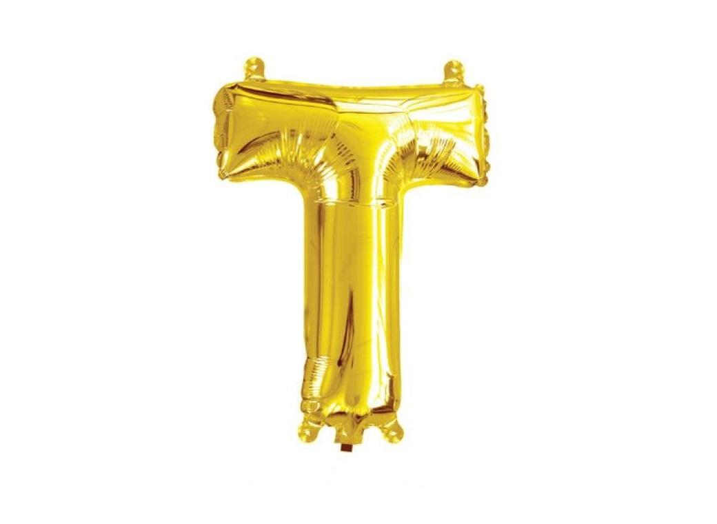 Mini Gold Foil Balloon - Letter T