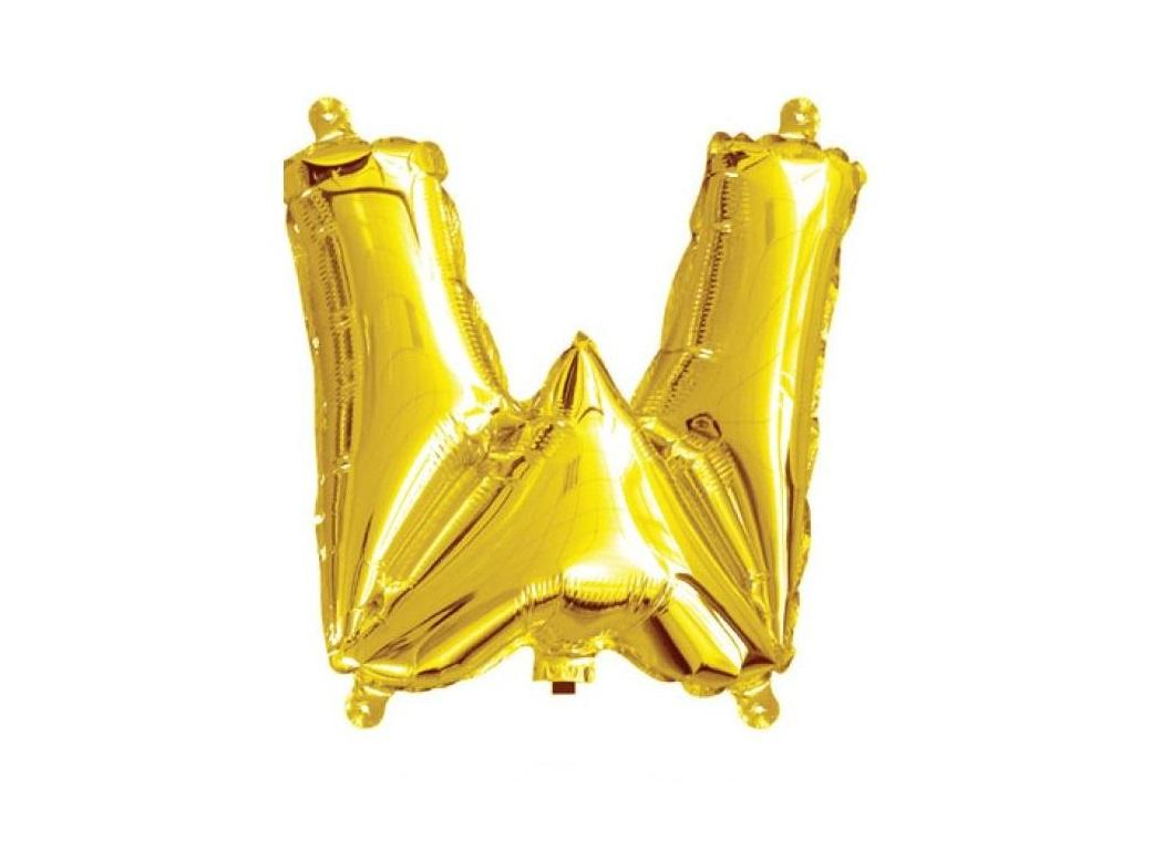 Mini Gold Foil Balloon - Letter W