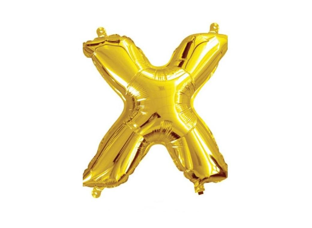 Mini Gold Foil Balloon - Letter X