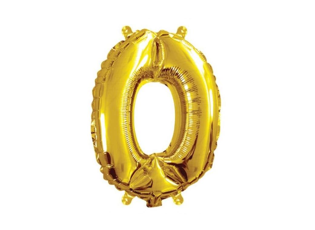 Mini Gold Foil Balloon - Number 0