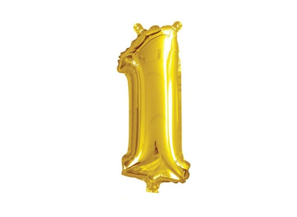 Mini Gold Foil Balloon - Number 1