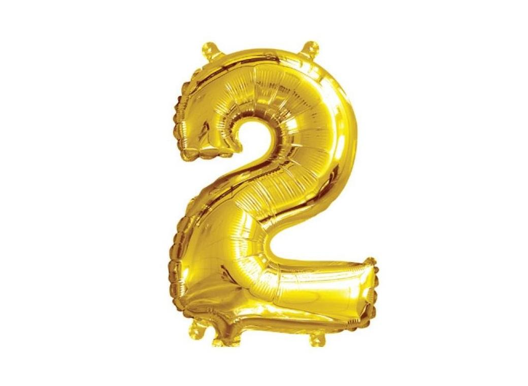 Mini Gold Foil Balloon - Number 2