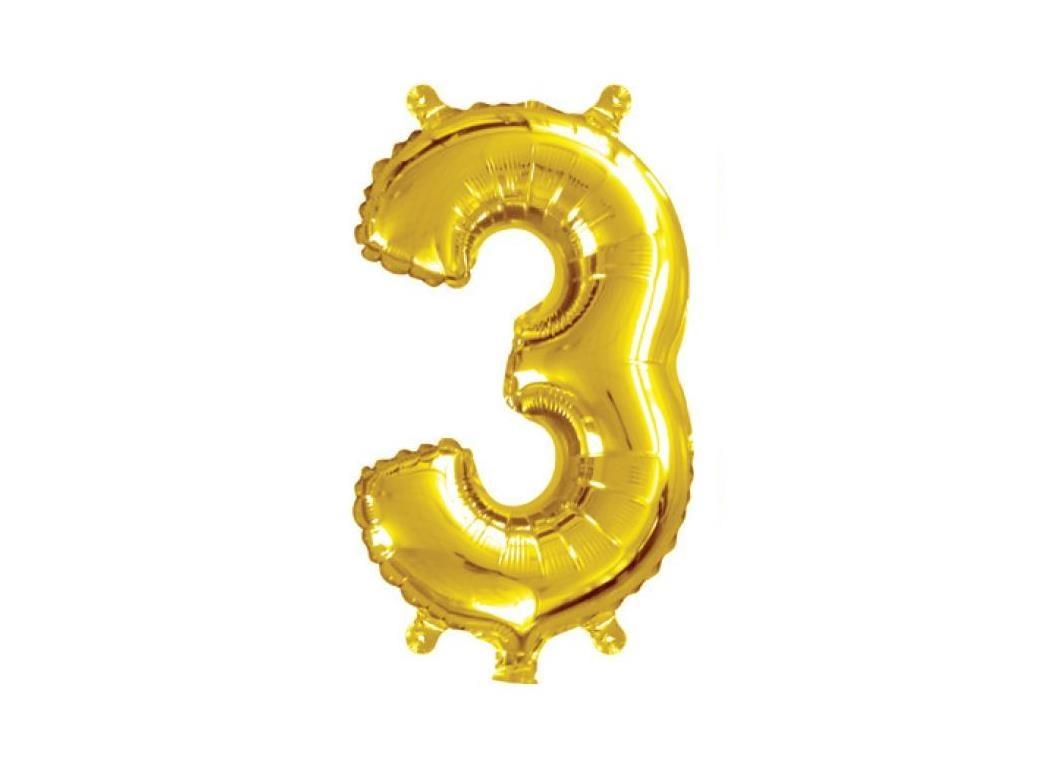 Mini Gold Foil Balloon - Number 3