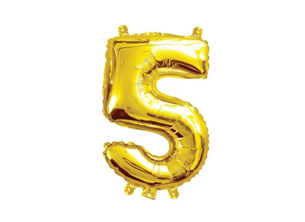 Mini Gold Foil Balloon - Number 5