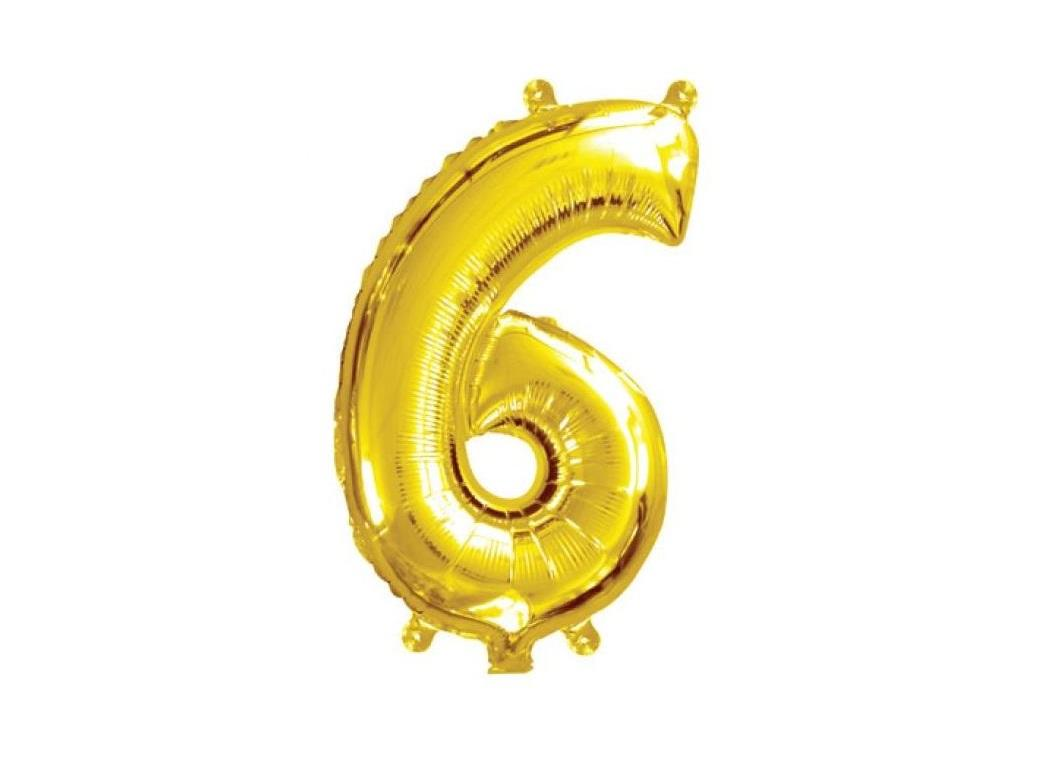 Mini Gold Foil Balloon - Number 6
