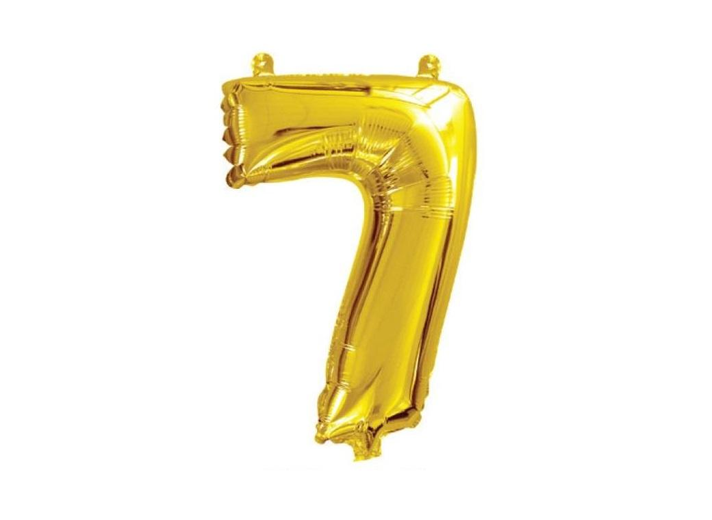 Mini Gold Foil Balloon - Number 7