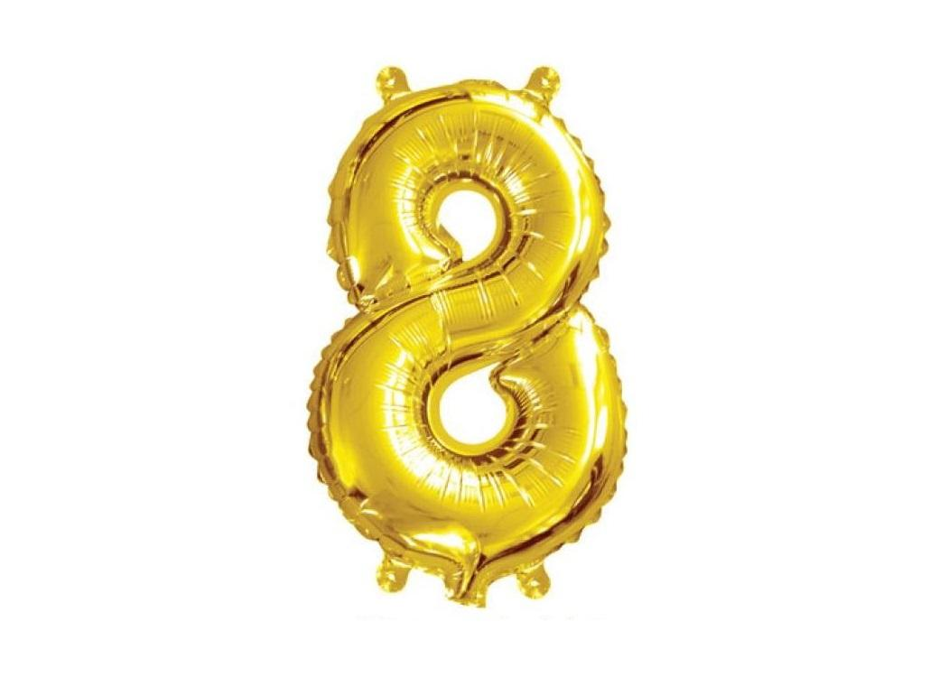 Mini Gold Foil Balloon - Number 8