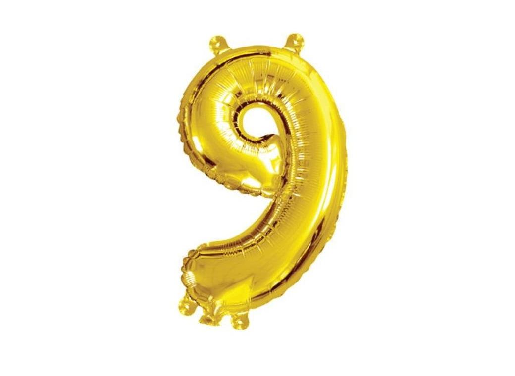 Mini Gold Foil Balloon - Number 9