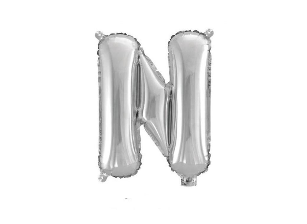 Mini Silver Foil Balloon - Letter N