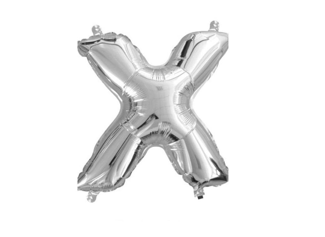 Mini Silver Foil Balloon - Letter X