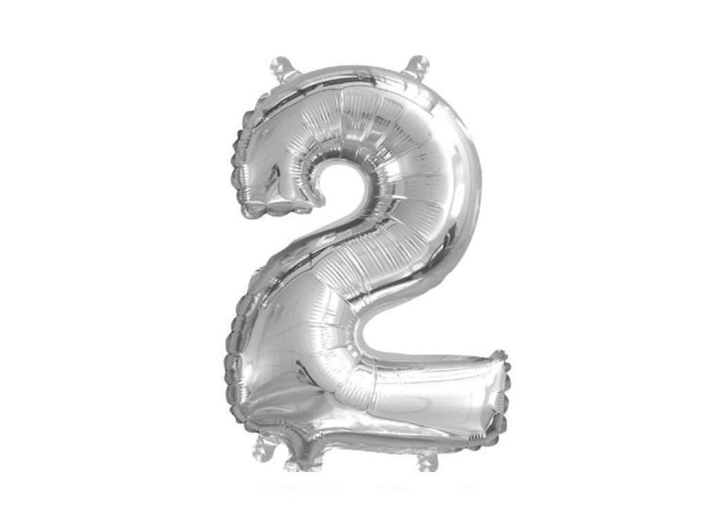 Mini Silver Foil Balloon - Number 2