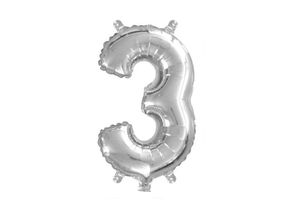 Mini Silver Foil Balloon - Number 3