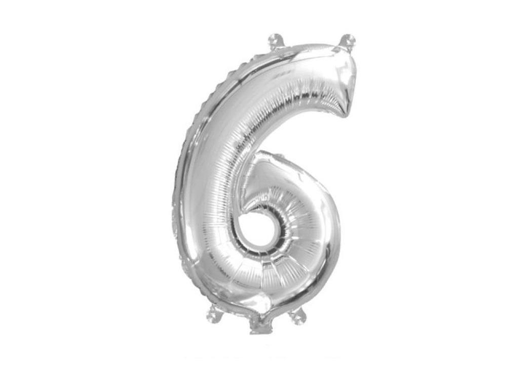 Mini Silver Foil Balloon - Number 6