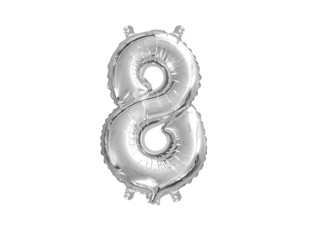 Mini Silver Foil Balloon - Number 8