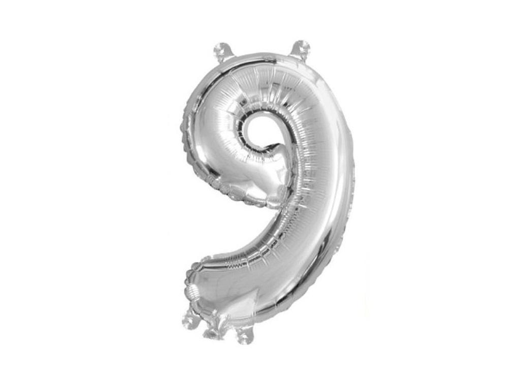 Mini Silver Foil Balloon - Number 9