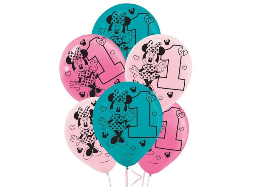 Minnie 1st Birthday Balloons 15pk