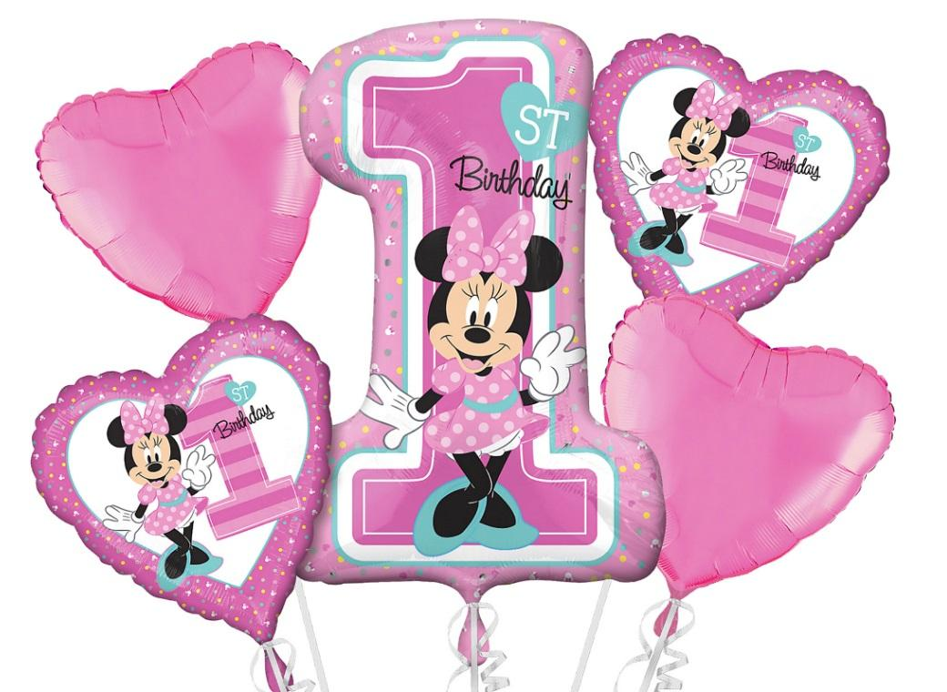 Minnie 1st Birthday Foil Balloon Bouquet