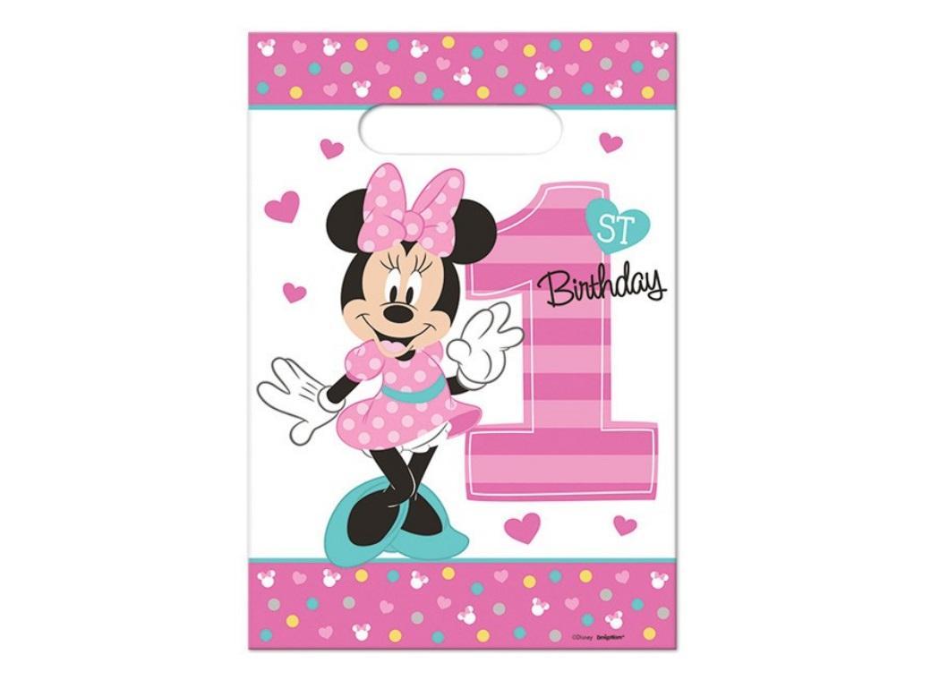 Minnie 1st Birthday Loot Bags 8pk