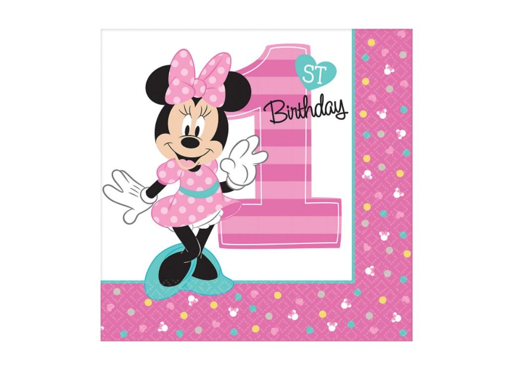 Minnie 1st Birthday Lunch Napkins 16pk