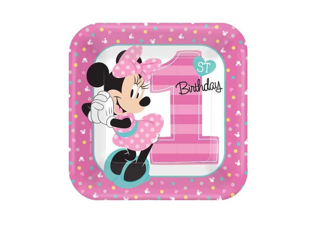 Minnie 1st Birthday Lunch Plates 8pk