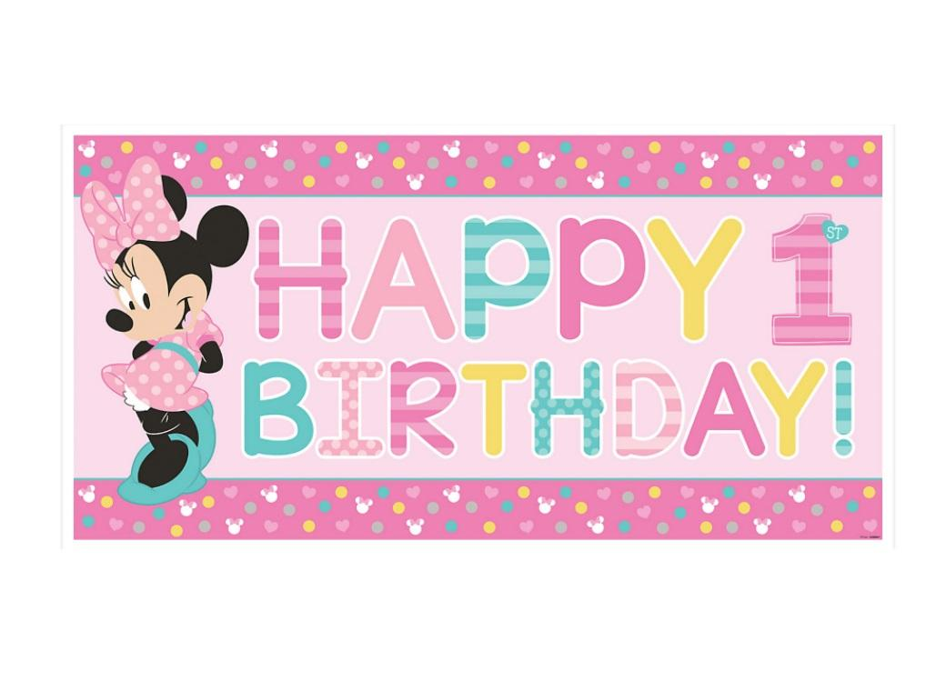 Minnie 1st Birthday Party Banner