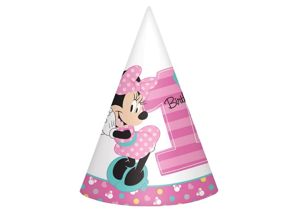 Minnie 1st Birthday Party Hats 8pk