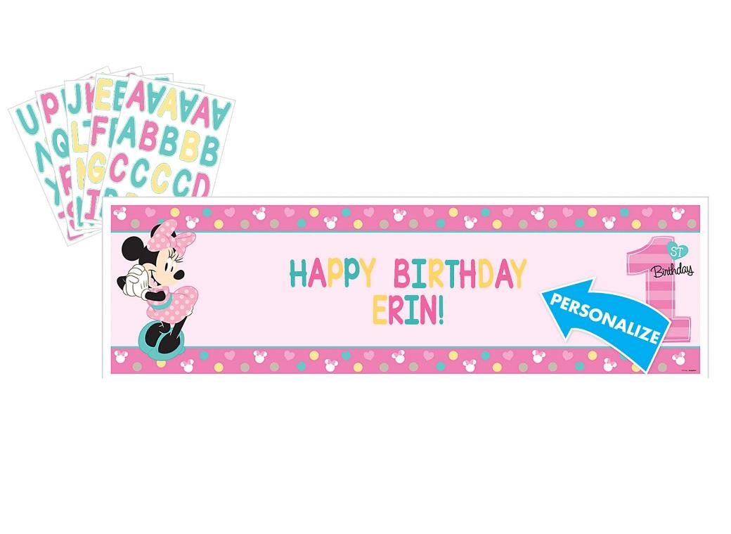 Minnie 1st Birthday Personalised Banner Kit