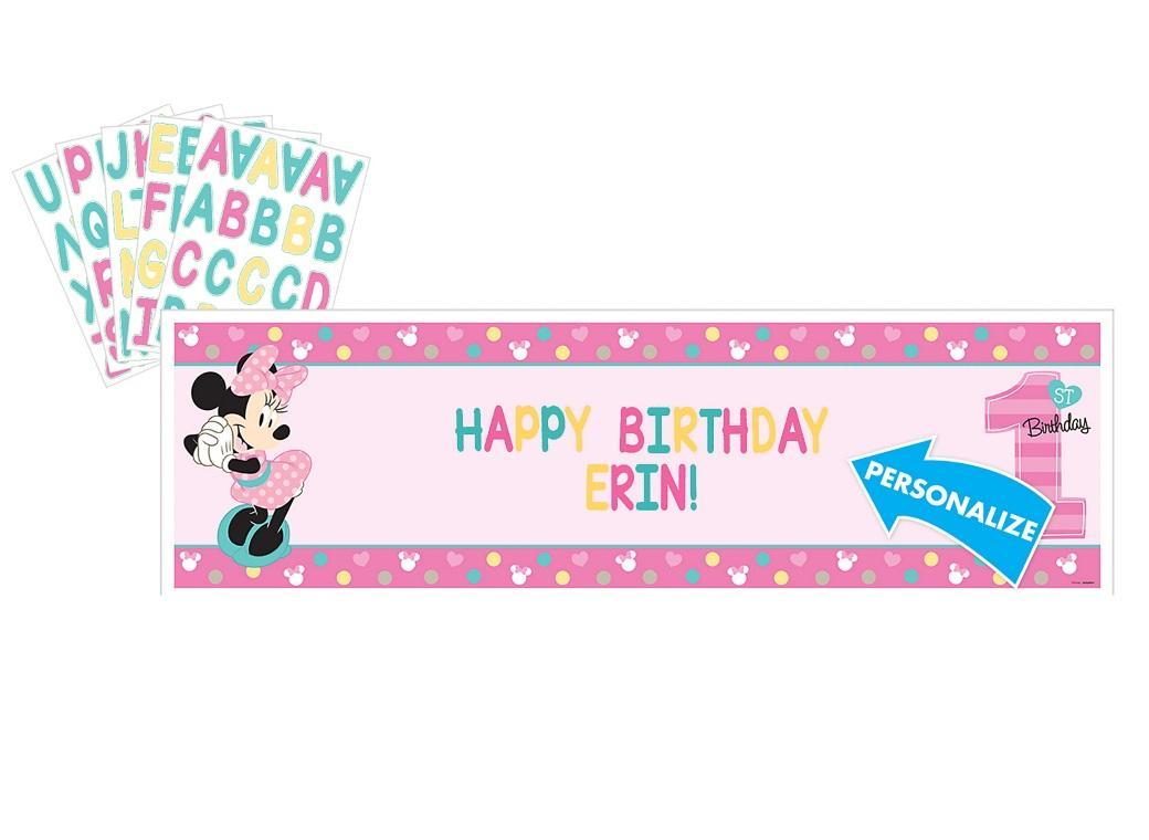 Minnie 1st Birthday Personalised Banner Kit