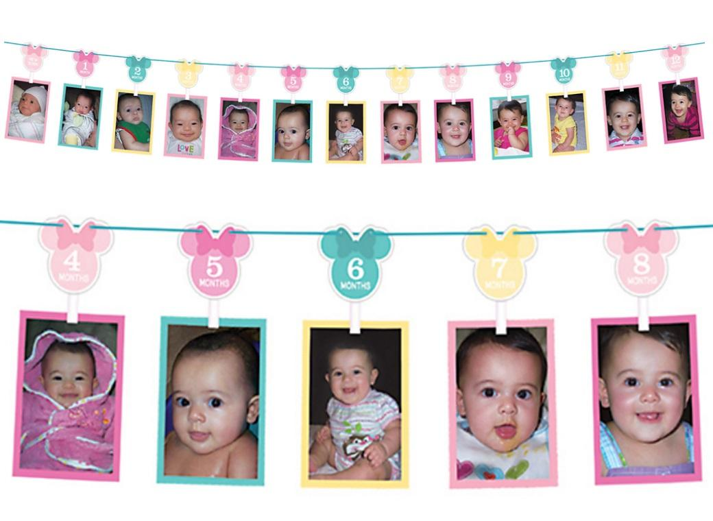 Minnie 1st Birthday Photo Garland