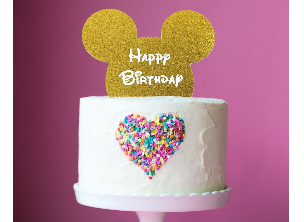 Mouse Ears Cake Topper Gold