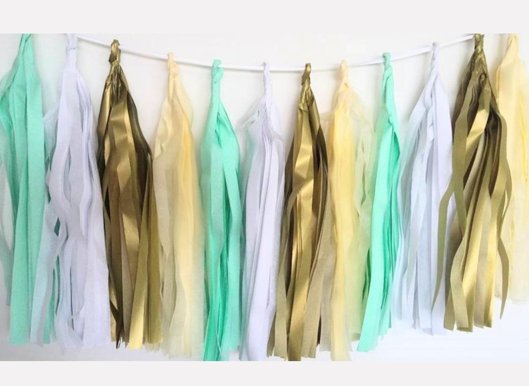 Tissue Tassel Garland - Mint Luxe