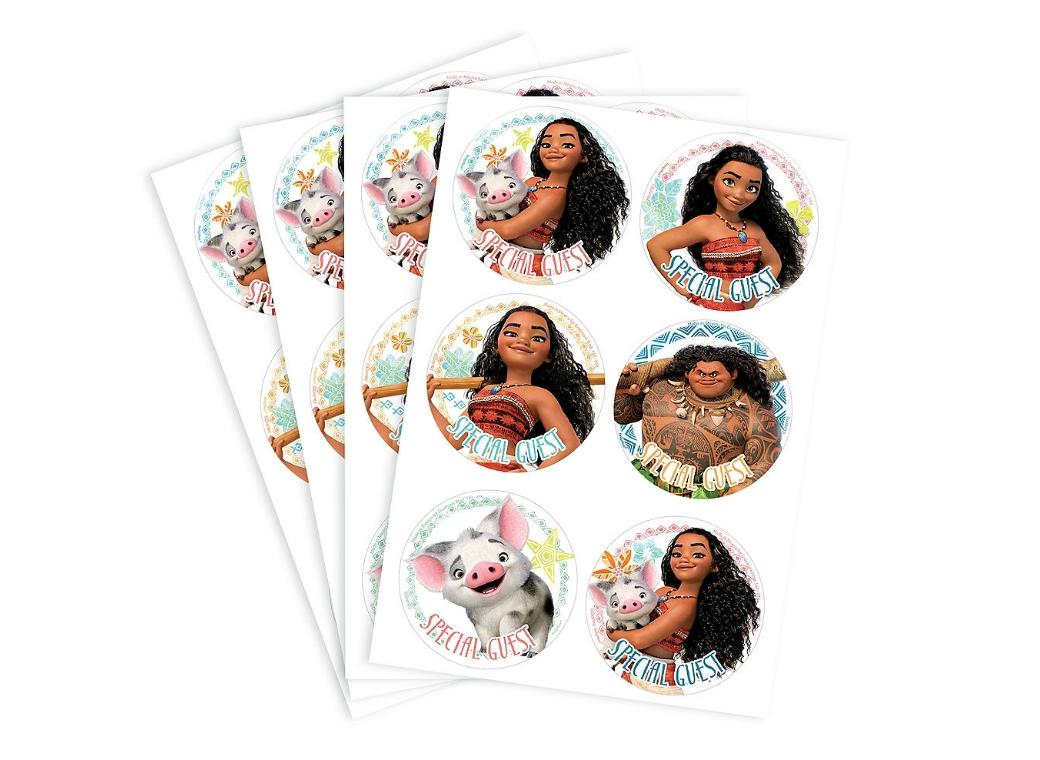 Moana Party ID Stickers 24pk