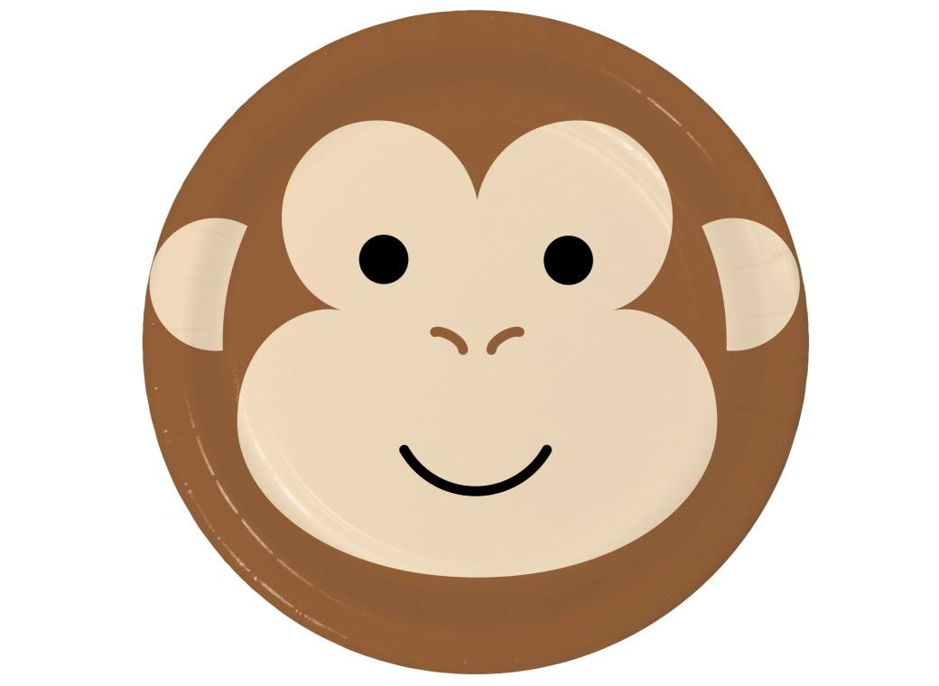 Animal Faces Monkey Dinner Plates 8pk