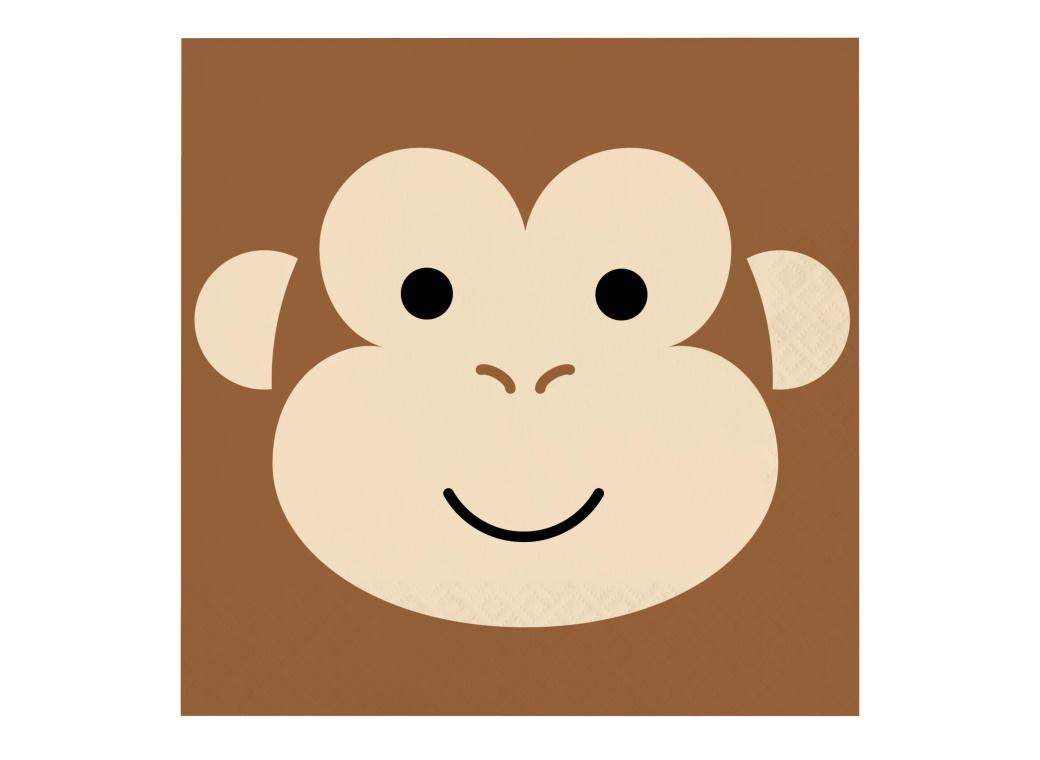 Animal Faces Monkey Lunch Napkins 16pk