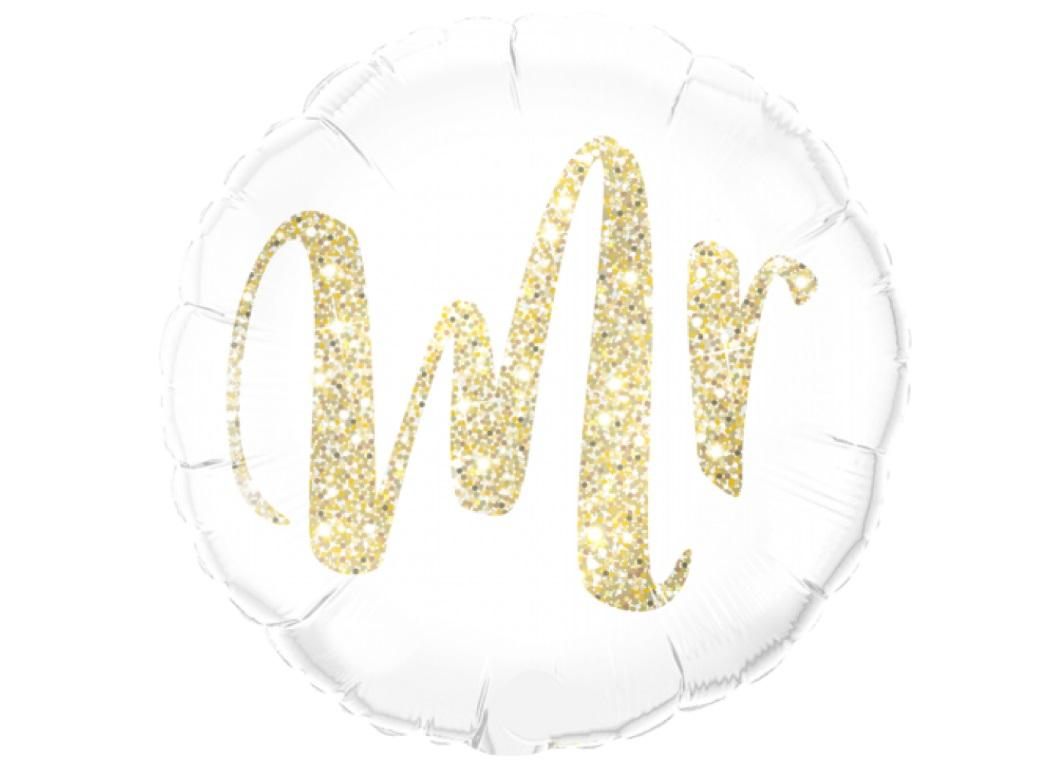 Gold Glitter Mr Foil Balloon
