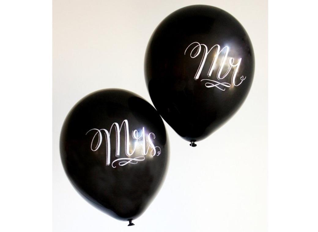 Chalk Lettered Balloons - Mr & Mrs