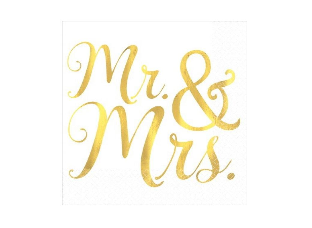 Mr & Mrs Beverage Napkins 16pk