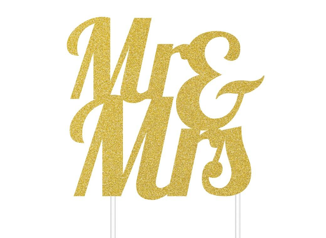 Mr & Mrs Gold Glitter Cake Topper