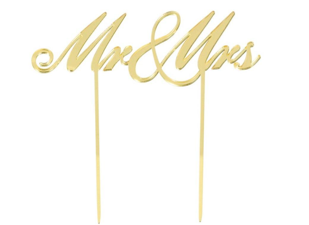 Mr & Mrs Gold Wedding Cake Topper
