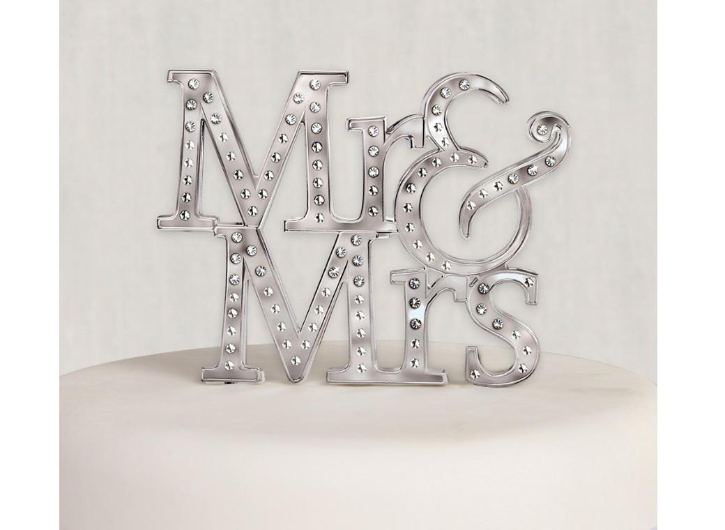 Mr & Mrs Silver Diamante Cake Topper