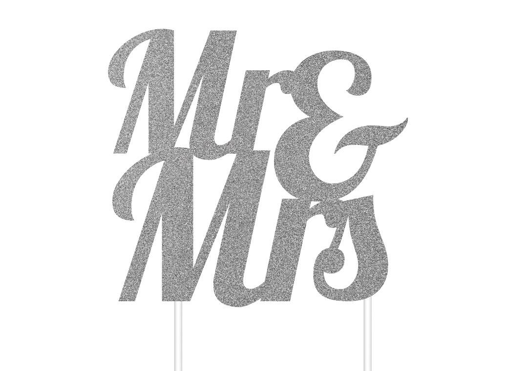 Mr & Mrs Silver Glitter Cake Topper