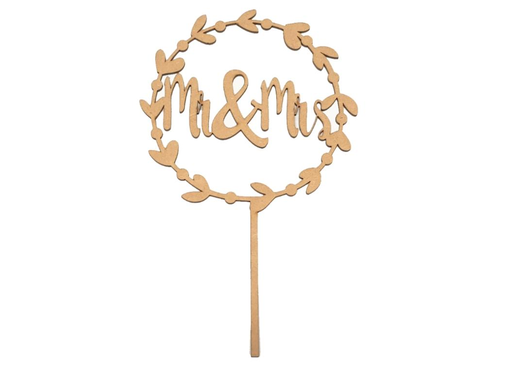Mr & Mrs Wreath Cake Topper - Wooden