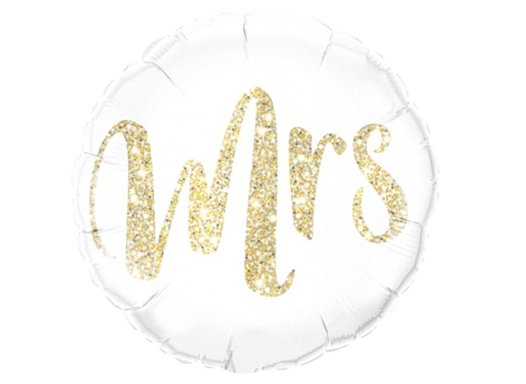 Gold Glitter Mrs Foil Balloon
