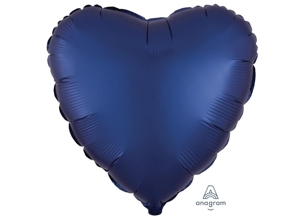 Heart Shaped Foil Balloon - Satin Luxe Navy