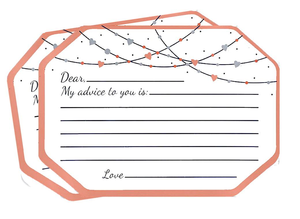 Navy Love Bride & Groom Advice Cards