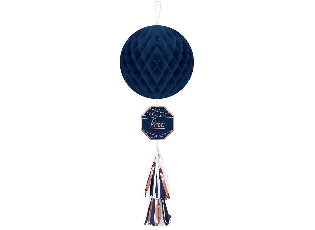 Navy Love Hanging Honeycomb Decoration