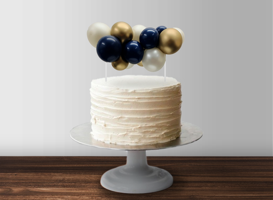 Balloon Garland Cake Topper - Navy, White & Gold